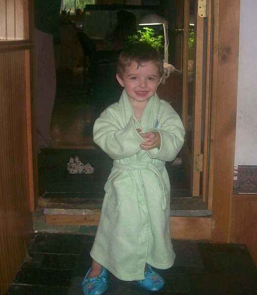 Yes, that is his sisters bathrobe and slippers